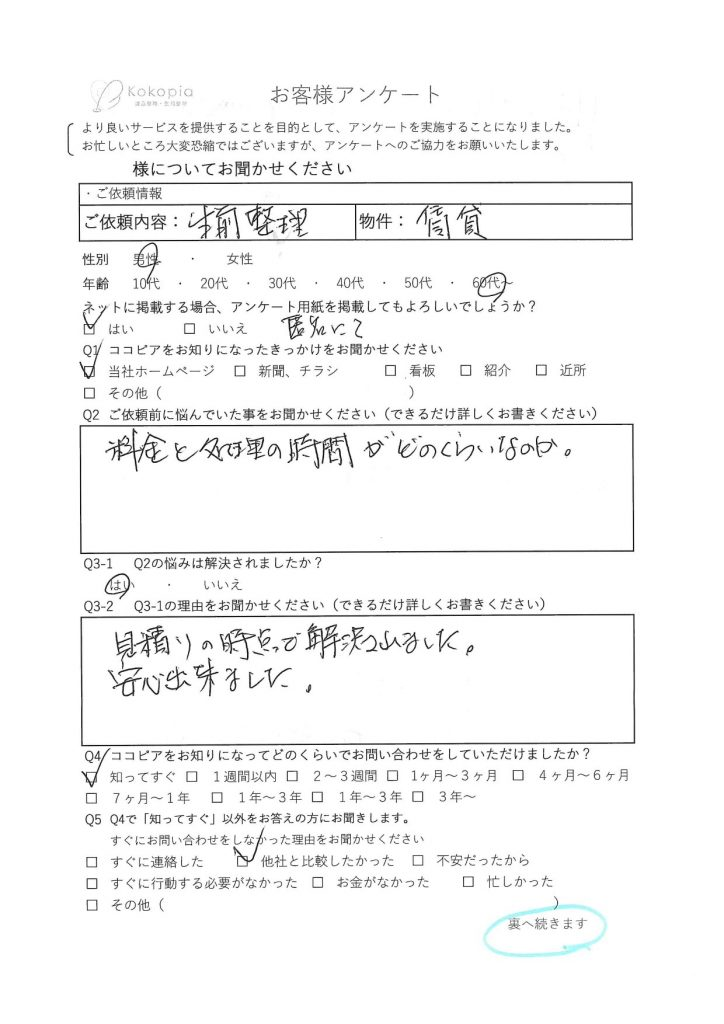 兵庫県 生前整理 アンケート1